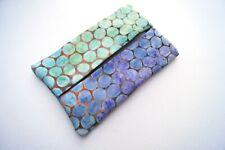 Batik Fabric Travel Size Tissue Holder with Blue & Purple Honeycomb Print