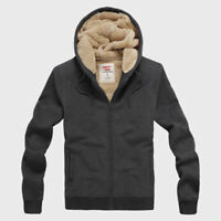 Winter Hooded Jacket Men Fleeces Lined Coat Hoodies Tops Cotton Brushed Sports