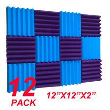 12 BLUE purple Acoustic Foam Wedge Tiles Soundproofing Panel Sponge 12x12x2''