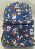 "Nintendo Super Mario Bros. All Over Print 16"" Backpack School Book Bag NWT"