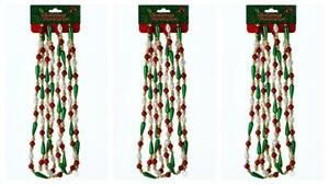 9' Green Red and White Bugle Plastic Bead  Christmas Garland Set of 3