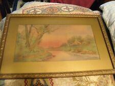 """Vintage Frederick S. BURGY Watercolor Framed Art Print 10"""" x 16"""" Landscape"""