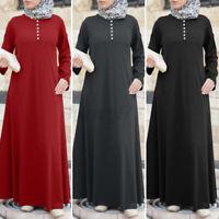 ZANZEA Womens Long Sleeve O Neck Solid Abaya Muslim Kaftan Maxi Dress Plus Size
