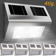 4x LED Solar Wandleuchte Solarleuchte Edelstahl Gartenlampe Wandlampe Außenlampe