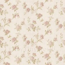 Dolls House Miniature Mixed Pale Pink Flowers On White Wallpaper