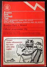 1973 ROSSLYN PARK v BRISTOL programme