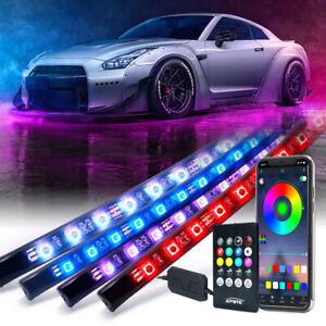 4Pcs RGB LED Light Strips Car Underglow Neon Light Kit Remote & Bluetooth APP