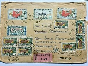 CAMEROON 1962 multistamped cover Registered Douala to Hannover