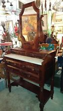 Antique Mahogany Foyer Vanity Table Dresser * Entry Hall * 1800's * with Mirror