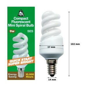 BELL 04997 - 9W = 40W SES E14 Compact Fluorescent Spiral Energy Saver Lamp