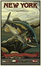 """Northwest Art Mall Bass Fishing in New York by Paul A Lanquist,11""""x17""""- H15 54AM"""