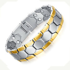Men Magnets Bracelet Jewellery 18K Gold Pain Relief Link for Joint JFUME