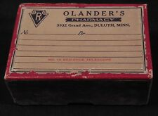 Vtg Prescription Salesman Sample Box Advertising Olanders Pharmacy Minn