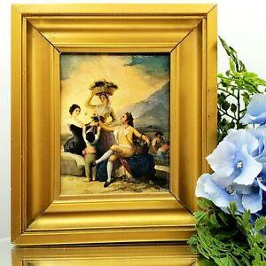 Vintage Spanish Renaissance Style Miniature Painting Framed Art on Canvas