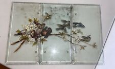 "Antique Heavy Victorian Glass Panels Hand Painted Birds 3 Panels 14"" x 7"" Each"