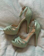 Jessy Ross Mint Green Turquoise Gold Studded High Heels Shoes Size 6 39