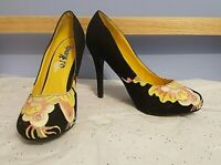 Ed Hardy Multi Color Graphic Design on Black Textile Stiletto Pumps US Size 8M