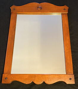 RARE Antique Monitor Furniture Co Cherry Wood Wall Mirror Colonial Jamestown NY