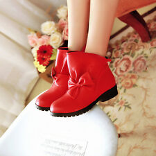 Sweet Girl Round Toe Bow Knot Mary Jane Lolita Lady Ankle Boots Pull On Shoes