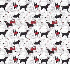 REST Patchworkstoff Dogs Red Patchwork Stoffe Tiermotive Hunde Baumwollstoff