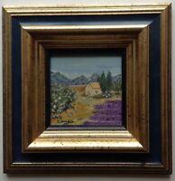 Tableau Miniature Impressionniste Paysage Provençal Huile Signée