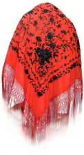 SHAWL In red silk embroidered with flowers in black - Manton de Manila. VINTAGE