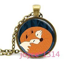 Vintage Lazy fox Cabochon Bronze Glass Chain Pendant Necklace #1200
