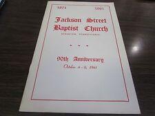 JACKSON STREET BAPTIST CHURCH - SCRANTON PA - 90TH ANNIVERSARY PROGRAM (1871