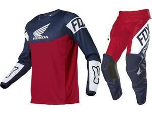 Fox Racing 180 Honda Pant & Jersey Combo Red/White/Blue MX/ATV Gear Set '21