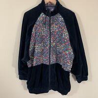 Vintage 80's Oleg Cassini Floral Suede Velour Black Jacket Sweatshirt