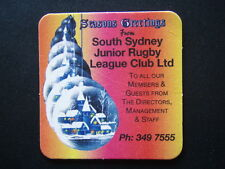 SEASONS GREETINGS SOUTH SYDNEY JUNIOR RUGBY LEAGUE CLUB LTD 349 7555 COASTER