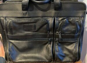 Black Tumi All Leather Soft Briefcase / Carry-on/ Laptop / IPad Bag with Lining