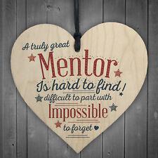 Great Mentor Teacher Wooden Heart End of Term Leaving Plaque Novelty Thank You