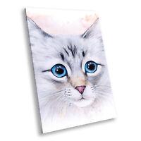 Blue Grey Watercolour Cat Portrait Animal Canvas Wall Art Large Picture Prints