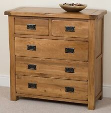 Cotswold Rustic Solid Oak Large Chest of 5 Drawers Unit Bedroom Furniture