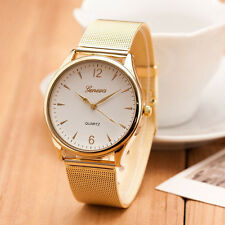New Geneva Classic Women Gold Quartz Stainless Steel Casual Wrist Watch
