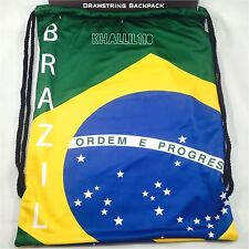 Brazil Flag Polyester Drawstring Backpack/Sack