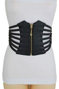 Women Black Wide Elastic Waistband Fashion Corset Belt Hip High Waist XL xl XXL