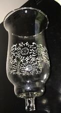 One Vintage Etched Glass Votive Candle Holder Hurricane White Etched Flowers 6�