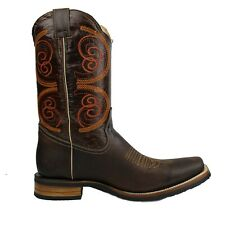 Men's Genuine Leather Western Cowboy Boots Rodeo Square Toe Botas Vaqueras