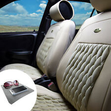 Leather Seat Cushion Covers Bucket Set Diamond Pattern Solid Beige w. FREE Gift