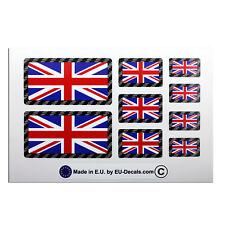 9X UK Union Jack flags Carbon fiber outline Laminated Decals Stickers Triumph