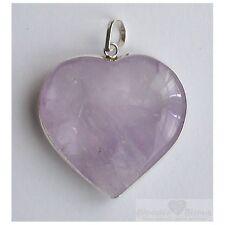 Pendentif coeur Amethyste Bresil cerclé argent violet