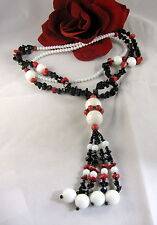 Gorgeous Black White Red Gemstone Tassel  Beaded  Necklace   FERAL  CAT RESCUE