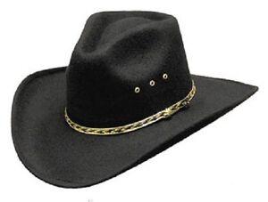 NEW! Black Faux Felt Cowboy Hat Pinch Front (S/M L/XL Kids)