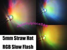 1000pcs, 5mm Straw Hat RGB Colorful Slow Flashing Flash Red Green Blue LED Leds