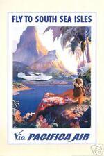 HAWAII ART PRINT - Fly to South Sea Isles via Pacifica Air HAWAIIAN Poster 24x36