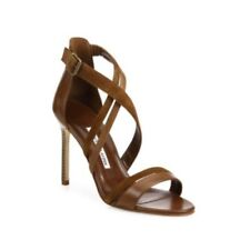 Retail $835 Manolo Blahnik Liline Brown Leather & Suede Strappy Sandals Sz 38/8