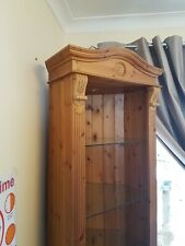Solid Pine Tall Bespoke Corner Cabinet Unit with lighting
