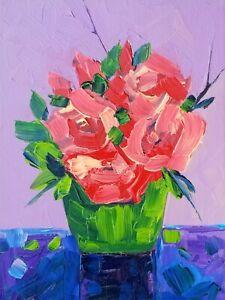 MARINA REHRMANN Original Painting, Impressionism FLOWERS Rose Pot Art 9 x12 🧿🧿